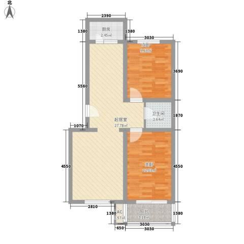 富丽花园2室0厅1卫1厨85.00㎡户型图