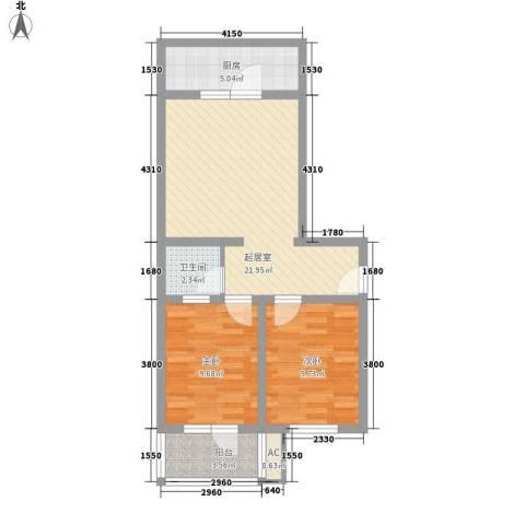 富丽花园2室0厅1卫1厨78.00㎡户型图