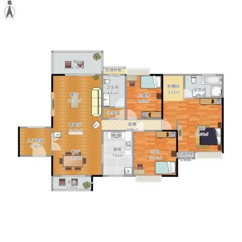 惠阳东方新城3室1厅2卫1厨143.00㎡户型图