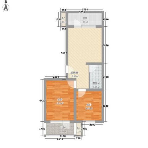 富丽花园2室0厅1卫1厨75.00㎡户型图