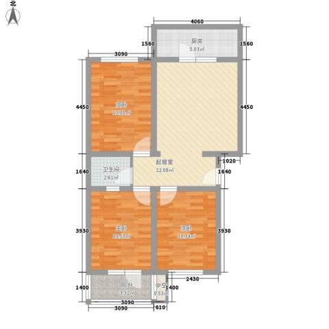 富丽花园3室0厅1卫1厨98.00㎡户型图