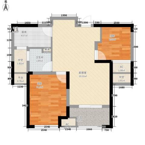 新城香悦半岛2室0厅1卫1厨86.00㎡户型图