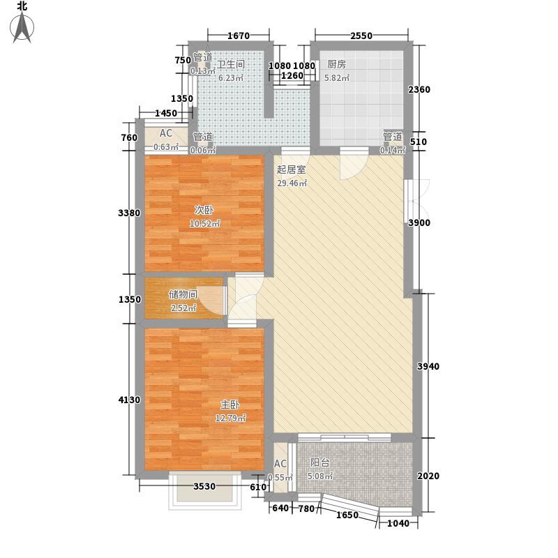 中虹明珠苑107.78㎡3号02室户型2室2厅1卫1厨