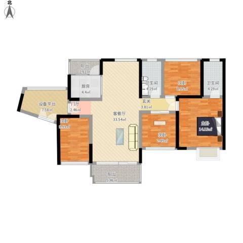 汇龙湾花园4室1厅2卫1厨145.00㎡户型图