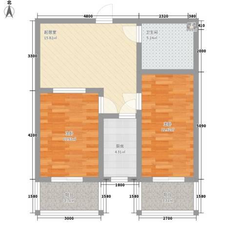观庭2室0厅1卫1厨82.00㎡户型图