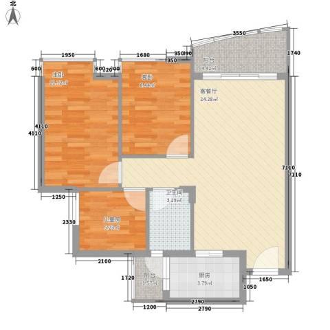 碧湖花园别墅3室1厅1卫1厨89.00㎡户型图