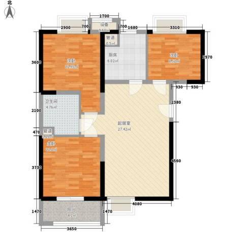 瑞和山水居3室0厅1卫1厨89.00㎡户型图