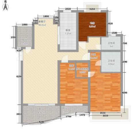 爱家亚洲花园3室1厅2卫1厨147.00㎡户型图