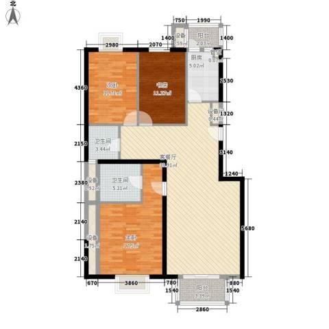 丽都东镇滨河1号别墅3室1厅2卫1厨148.00㎡户型图