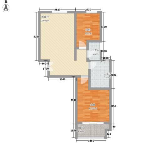 东怡水岸花园别墅2室1厅2卫0厨85.00㎡户型图