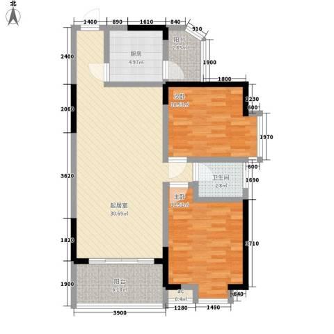 桃园别墅2室0厅1卫1厨102.00㎡户型图