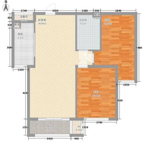 盛秦国际别墅2室0厅1卫1厨79.81㎡户型图