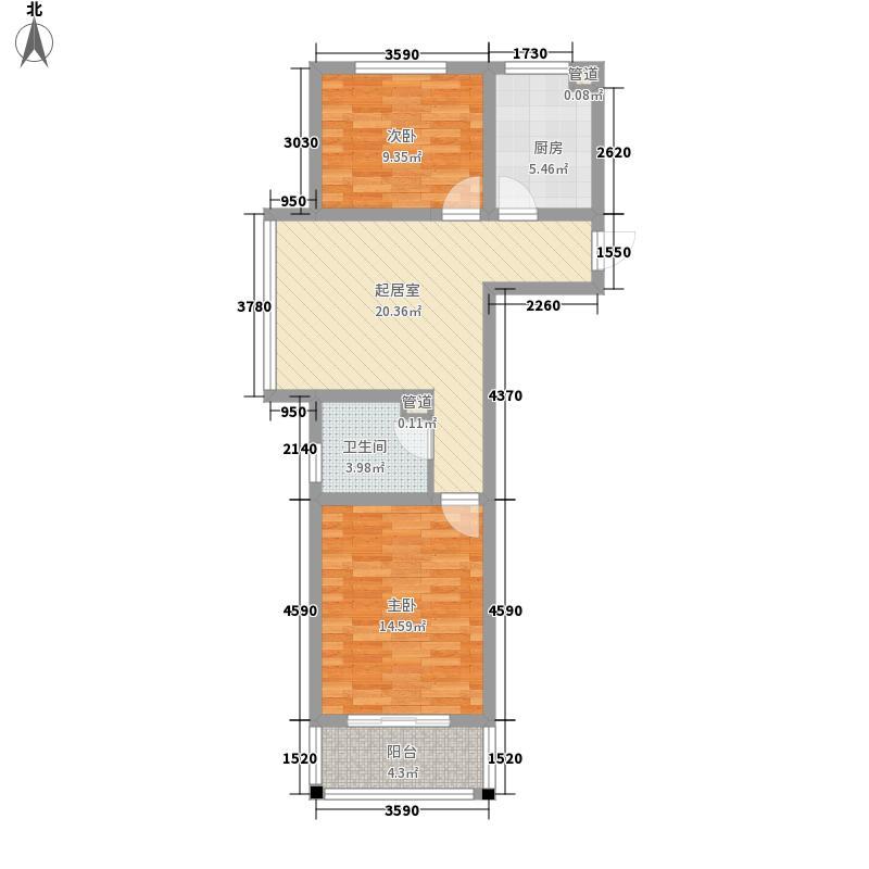 康城世纪85.40㎡2-1-1-8594户型2室1厅1卫1厨