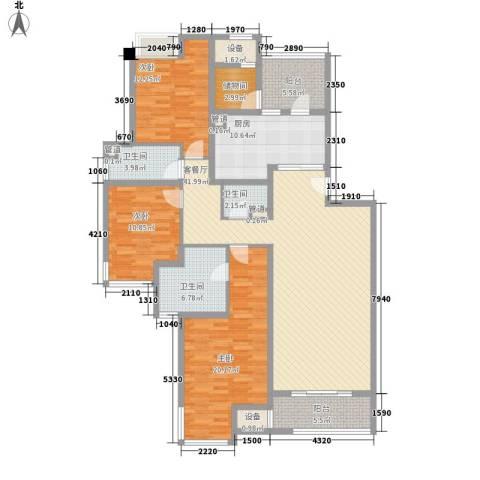 西郊林茵湖畔别墅3室1厅3卫1厨178.00㎡户型图