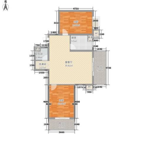 北辰广场2室1厅1卫1厨98.00㎡户型图