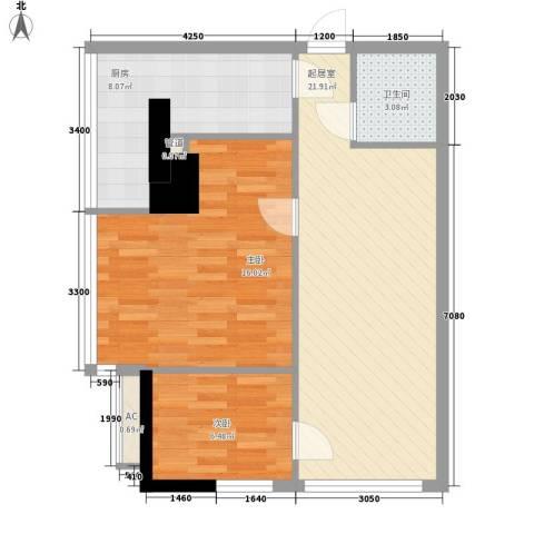 武汉城市广场2室0厅1卫1厨83.00㎡户型图