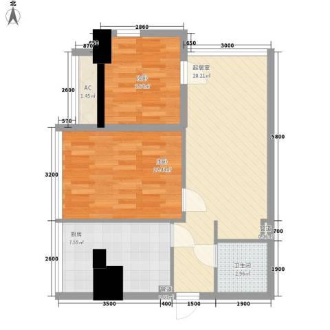 武汉城市广场2室0厅1卫1厨79.00㎡户型图