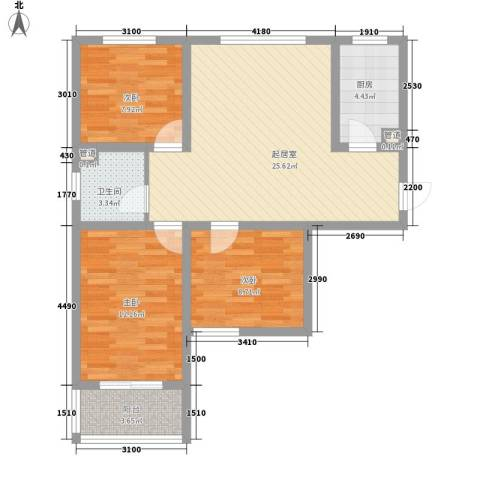 天鸿尚都3室0厅1卫1厨66.03㎡户型图