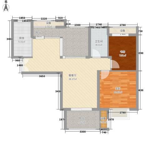 华润置地中央公园别墅2室1厅1卫1厨84.65㎡户型图