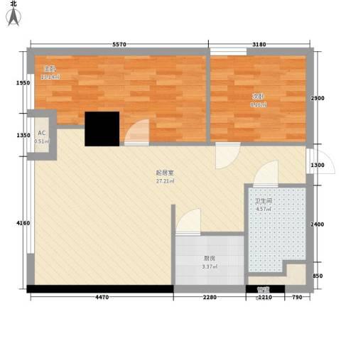 武汉城市广场2室0厅1卫1厨82.00㎡户型图