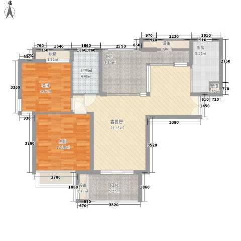 华润置地中央公园别墅2室1厅1卫1厨89.13㎡户型图