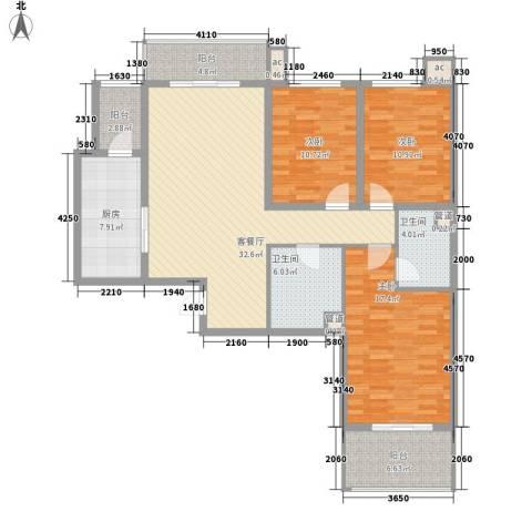 北辰广场3室1厅2卫1厨120.00㎡户型图
