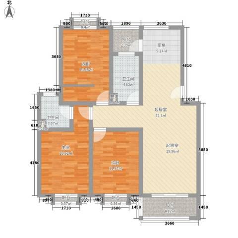 安康新村3室0厅2卫0厨131.00㎡户型图