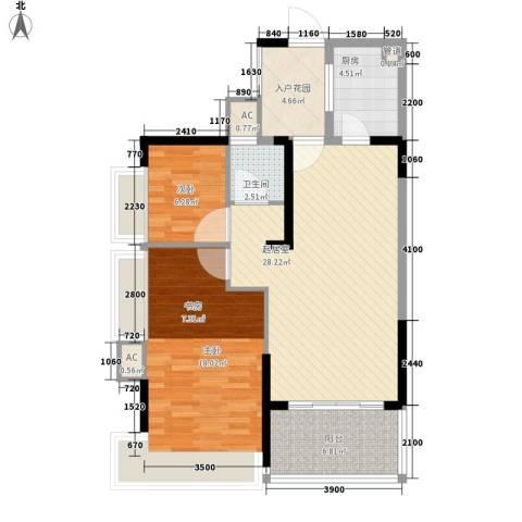 藏珑湖上国际社区别墅2室0厅1卫1厨104.00㎡户型图