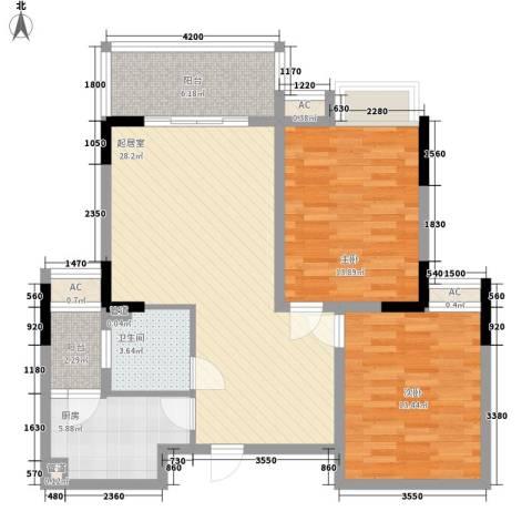 春江花月2室0厅1卫1厨75.16㎡户型图
