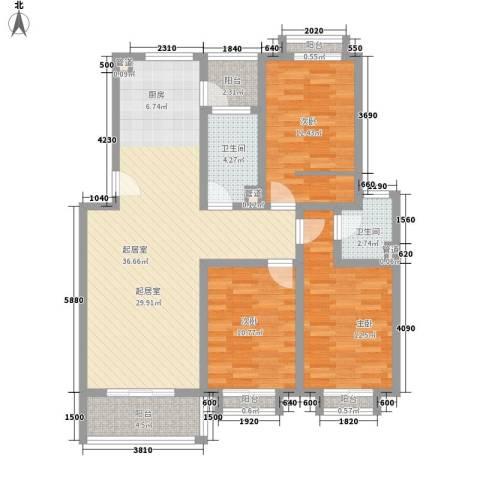 安康新村3室0厅2卫0厨130.00㎡户型图