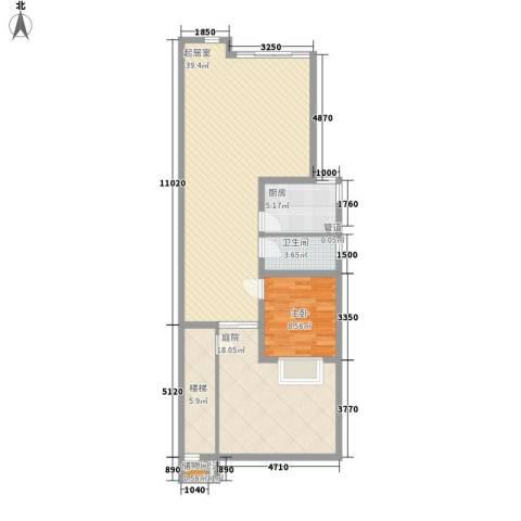 琵琶岛山水豪庭1室0厅1卫1厨81.45㎡户型图