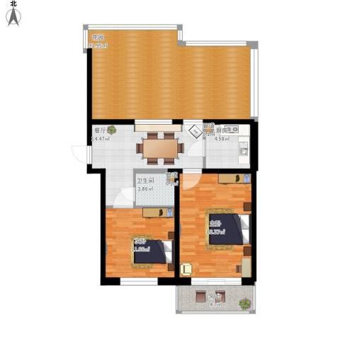 温馨家园2室1厅1卫1厨127.00㎡户型图
