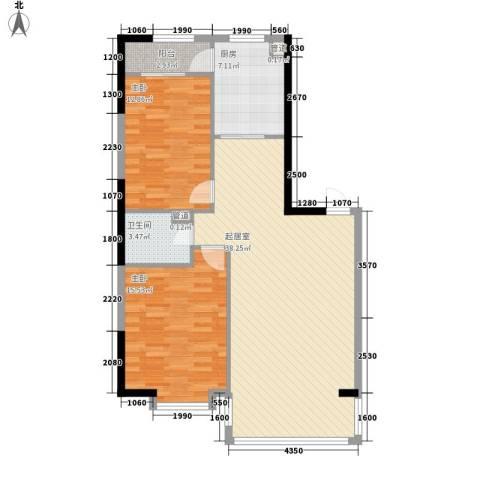 橄榄城2室0厅1卫1厨80.42㎡户型图