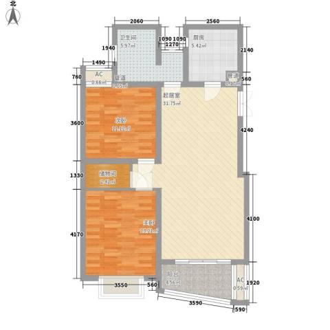 中虹明珠苑2室0厅1卫1厨110.00㎡户型图