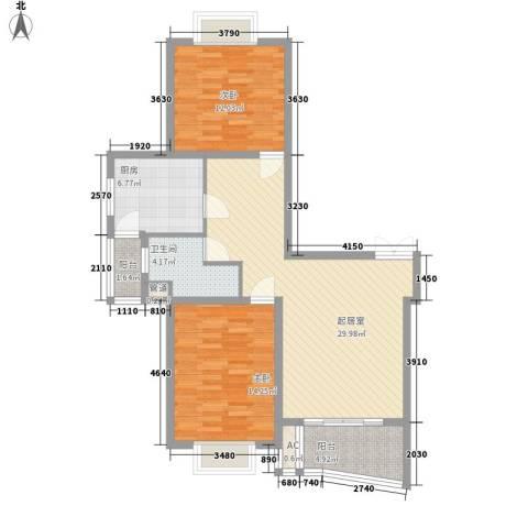中虹明珠苑2室0厅1卫1厨108.00㎡户型图