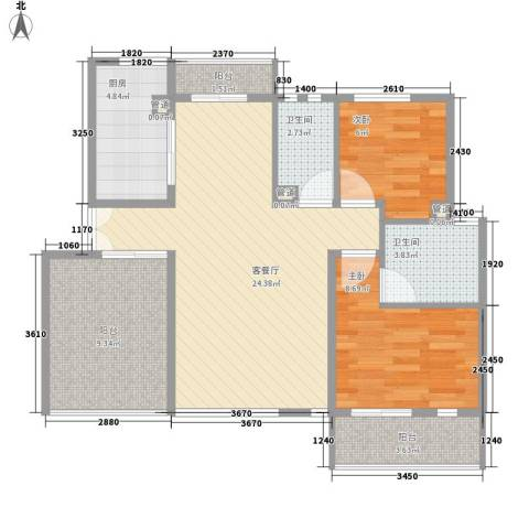 顺驰美兰2室1厅2卫1厨73.90㎡户型图