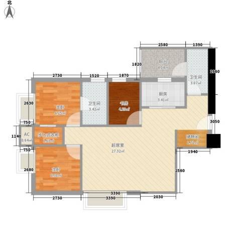 保利丰花园3室0厅2卫1厨85.00㎡户型图