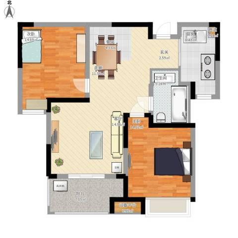 中环紫郡2室1厅1卫1厨117.00㎡户型图