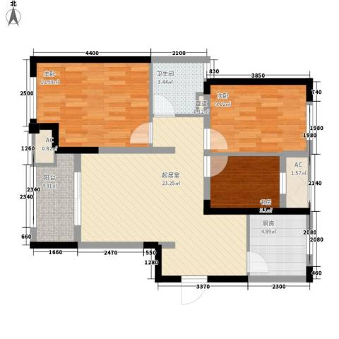 新城香悦半岛3室0厅1卫1厨95.00㎡户型图