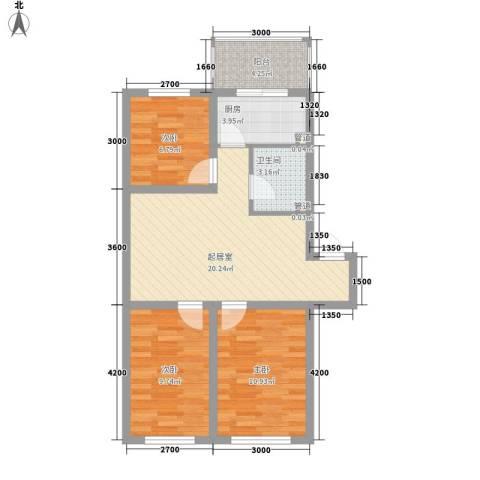 花溪林语3室0厅1卫1厨83.00㎡户型图