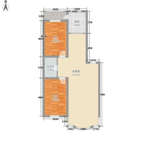 柳湖绿园2室0厅1卫1厨87.83㎡户型图