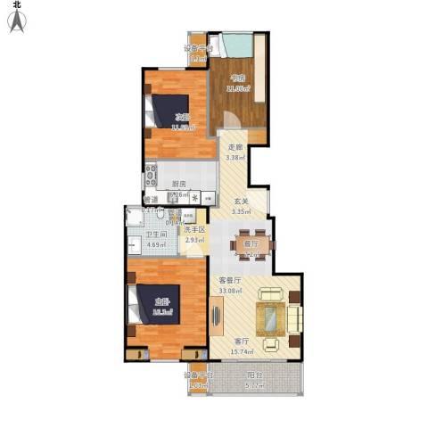 世茂维拉3室1厅1卫1厨124.00㎡户型图