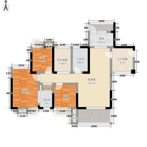 金碧花园3室0厅2卫1厨86.70㎡户型图