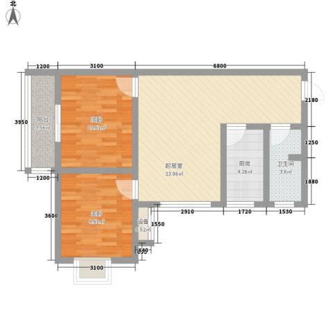 �灞雅苑2室0厅1卫1厨82.00㎡户型图