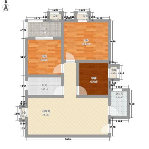 �灞雅苑3室0厅1卫1厨93.00㎡户型图