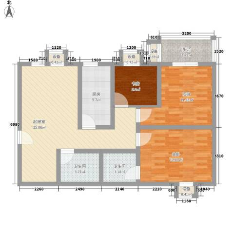 �灞雅苑3室0厅2卫1厨109.00㎡户型图