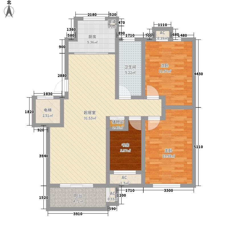 恒生国际星城11.12㎡21#标准层B户型3室2厅1卫1厨