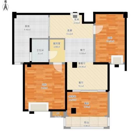 兆地尊庭2室1厅1卫1厨107.00㎡户型图