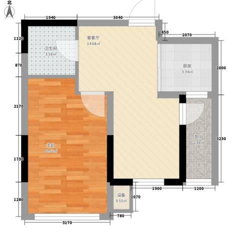 东逸美郡1室1厅1卫1厨57.00㎡户型图