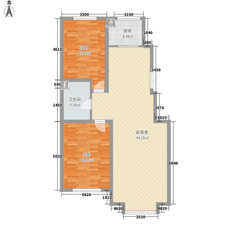 鸿�・和谐新城一期D1户型2室2厅1卫1厨